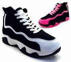LADIES RUNNING TRAINERS HI TOPS  LACE UP FLAT COMFY CHUNKY GYM SPORTS SHOES SIZE