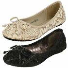Girls Cutie Lace Detailing Ballerina Flats *Dolly Shoes*