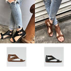Summer Gladiator Casual Sandals for Women Flat Leather Shoes Rome Style Goth New