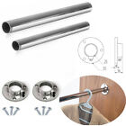WARDROBE 25 MM ROUND RAIL CHROME HANGING INCLUDE END SUPPORTS & SCREWS
