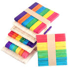 50* Large Wooden Multicolor Kids Hand Crafts Ice Cream Lolly DIY Popsicle Sticks