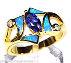 Genuine 18k Gold Over Sterling Silver Tanzanite & Blue Fire Opal Inlay Ring 6-9