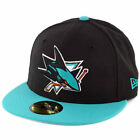 Mens San Jose Sharks New Era Black Teal Team Logo 59FIFTY Fitted Hat Cap NHL