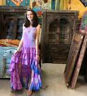 Boho Swirling womens Hi Low Dress Recycled Silk Gypsy Hippy Strapless Maxi Dress