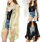 Women Floral Lace Floral Kimono Plus Size Beach Cover Up Cardigan Outerwear O1P1