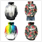 Men Women 3D Flower Colorful Printed Hoodie Novelty Pullover With Big Pockets