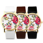 Rose Fashion Women Girl Lady Classic Geneva Leatheroid Analog Quartz Wrist Watch