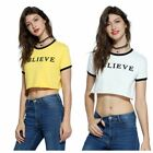Lady Summer High Waist Sexy BELIEVE Letter Printed Color Matching Short T-Shirt