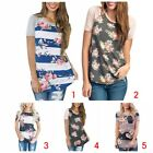 Women Fashion Casual Round Neck Long T-shirt Short Sleeve Flower Pattern Tops