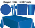 Royal Blue Party Tableware - Plates, Napkins, Cutlery, Cups & Tablecover