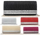 NEW LADIES DIAMANTE PLEATED METALLIC EVENING PURSE BRIDAL CLASP PROM CLUTCH BAG