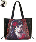 SPIRAL DIRECT DAY OF THE DEAD TOTE alternative FAUX LEATHER HANDBAG bag BLACK