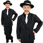 CHILD GANGSTER COSTUME AND BLACK HAT BOYS 1920S FANCY DRESS THEATRE STAGE SHOW
