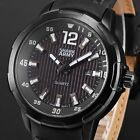 Shark Army Men's Black Dial Black Leather Band Automatic Date Sport Quartz Watch