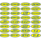 Blue & Yellow Oval Windshield Signs (FREE SHIPPING)  #197b