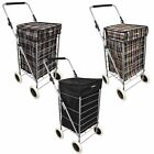 4 Wheel Shopping Trolley Caged Bag Folding Case Lightweight Fold Flat Tartan