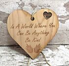 Wooden Hanging Heart Plaque Birthday Gift Idea Motivational Shabby Chic Friends