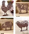 Metal Farm Animal Figurines Rooster Cow Pig Or Sheep Choice Rustic Home Decor