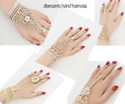 Ladies Hand Harness Party Bracelet Indian Jewellery Diamante Wedding Finger Ring