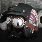 Open Face Motorcycle Helmet Leather Indian Feather Embossing Cruiser Bike Harley