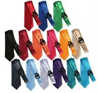 Mens Tie Lot Of 15 Ties Satin Solid Necktie Formal Classic New Blue Red Green