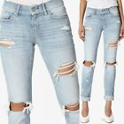 TheMogan Distressed Slim Straight Relaxed Roll Up Crop Jeans in Light Blue Wash