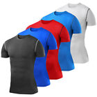 Mens Compression Shirt T-Shirt Short Sleeve Base Layers Tights Gym Clothes