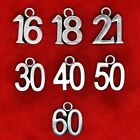 Tibetan Silver Birthday Age Number Charms 16th 18th 21st 30th 40th 50th 60th