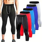 Mens Compression 3/4 Cropped Pants Base Layers Tights Gym Clothes Cycling Pants