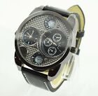 New Men Big Dial Sport Watches Leather Military Stainless Steel Case Wrist Watch