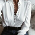 Elegant Women OL Shirt Long Sleeve Turn-down Collar Button Blouse Top T-shirt US