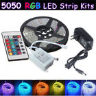 5M SMD 5050 RGB Strip Lamp 300 LED Flexible Light DC 12V Power 24 Key remote US