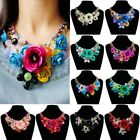 Lady fashion Imitation Crystal Flower Pendant Bib Chunky Necklace Collar Jewelry