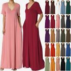 TheMogan S 3X Casual V-Neck Short Sleeve Pocket Maxi Dress W Comfy Jersey Knit