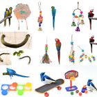 bird parrot cage hanging swing chew toys cockatiel budgie wooden stand perche C