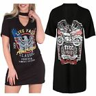 Ladies Long Rock Style T-Shirt Choker V Neck Slogan Print Vintage Mini Dress Top