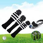 3pcs Black/Red Golf Club Headcovers 1 3 5 Wood Driver Head Covers Protector Set