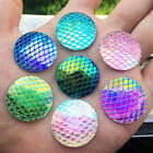 Внешний вид - 25mm Round AB Bling Fish Scale Style Flat back Resin strass Cabochons Button-B46