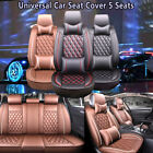 Universal Deluxe 5 Seats Car Seat Cover PU Leather Front + Rear Cushion W/Pillow on eBay