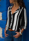 Women Loose Long Sleeve Hot Tops Casual Career Stripe T Shirt Button-Down Blouse
