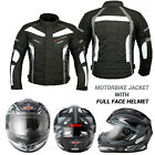 Mens Motorbike Armoured Jacket Waterproof Coat Solid Full Face Motorcycle Helmet