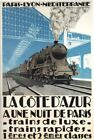 Vintage French Blue Train Paris To Cote D'Azur Tourism Poster A4/A3/A2/A1 Print