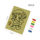 5Pc/set DIY Cartoon Color Sand Painting Art Craft Paper Set Kids Educational Toy