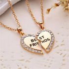 Best Friend Gift Heart Gold Silver Rhinestone 2 Pendants Necklace Bff Friendship