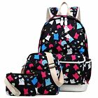 Girl School Backpack Set 3 in 1 Bookbag+Shoulder Bag+Pencil Case Water-Resistant