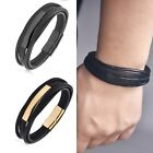Men's Stainless Steel Black Braided Leather Bracelet Cuff Bangle Wristband image