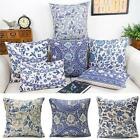 Vintage Oriental Blue Floral Cotton Linen Cushion Cover Pillow Case Home Decor image