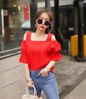 Red Black Off-shoulder shirt Women Clothing Dating outfit Top Club Party gather