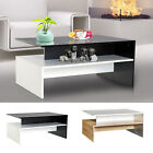 Two-tone Modern 2-Tier Wooden Coffee Table Side Desk Living