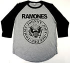 RAMONES T-shirt Punk Rock Distressed Raglan Baseball Tee Men 3/4Sleeve New image